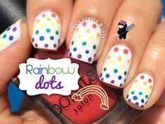 Rainbow Dots Nail Art by The Crafty Ninja