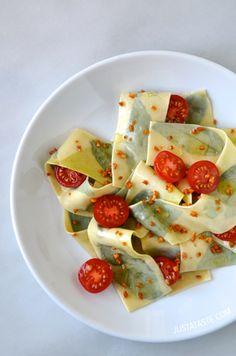 Laminated Basil Pasta with Garlic Brown Butter Sauce