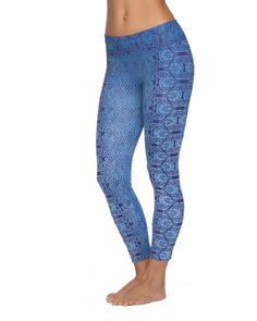 """Go ahead have some fun in your yoga practice with the printed Prana Roxanne Legging's. The elegant design with the flattering colors gives a whole new meaning to yoga practice. Quick drying stretch properties and a wide flattering waistband with a gusset make these pants comfortable no matter the heat. Fabric: 88% Polyester, 12% Spandex Gusset: Yes Inseam: Size Small = 23"""" Waist: Mid Rise Pockets: No Flat Seam: Yes Drawcord: No Wicks Moisture: Yes Breathes: Yes Recyclable: Yes Made: Imported Fit Yoga Wear, Small Waist, Printed Leggings, Women's Leggings, Yoga Pants, Wetsuit, Pajama Pants, Running Clothing, Bright Colors"""