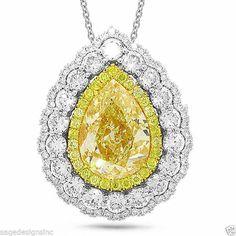 Natural 8.30 TCW 18K White Gold Fancy Yellow Pear Cut Certified Diamond Pendant #SageDesigns #Pendant