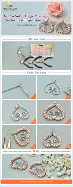 #Beebeecraft shows u how to make #wirewrapped #heart shape #pink #pearlearrings