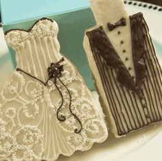 Bride and groom brownie or rice krispie wedding favors