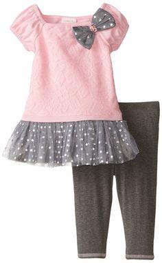 Floral rosado Youngland Niñas bebés 'To Grey Dot Legging Set, Rosa / Gris, 12 Meses