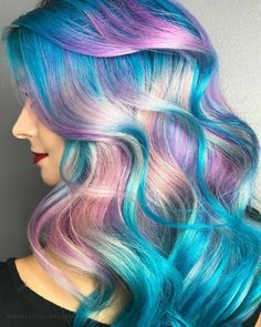 Haarfarbe Ideen I love this unicorn / mermaid hair colour. This may be my next colour. Cute Hair Colors, Beautiful Hair Color, Hair Dye Colors, Cool Hair Color, Crazy Hair Colour, Rainbow Hair Colors, Pastel Rainbow Hair, Bright Hair, Mermaid Hair