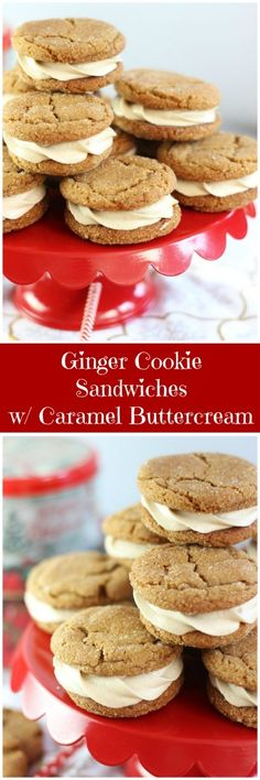 Soft and chewy molasses ginger cookies are sandwiched together with caramel buttercream frosting! I used my family's favorite Cracked Top Ginger Cookies to make these delectable cookie sandwiches!