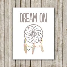 Dream On Print, 8x10, Instant Download, Dreamcatcher Nursery Art, Tribal Nursery Art, Indian, Navajo, Native, Teal Nursery Art, Aztec