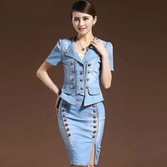 2015 Women Spring Summer Denim Skirt Suits OL Bodycon Side Split Skirt V-Neck Denim Jacket Sets Ladies Slim Suits Buttons A433(China (Mainland))