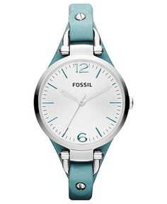Fossil Watch, Women's Georgia Teal Leather Strap 32mm ES3221 - All Watches - Jewelry & Watches - Macy's