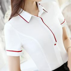 Formal white shirt female short-sleeve chiffon blouse clothing all-match work wear summer OL slim office ladies plus size tops Polo Outfits For Women, Dress Shirts For Women, Blouses For Women, Ladies Shirts, Mode Outfits, Casual Outfits, Fashion Outfits, Office Uniform For Women, Office Ladies
