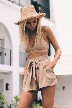 Coffee lace crop top Coffee shorts and hat