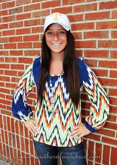 "NEW ARRIVAL!!! Thunder Struck Top $42.99!!! Model is wearing a small. She is 5'3"" and usually wears size 2-4!! Click on the link below to order your very own!!! https://www.southernfriedchics.com/Thunder_Struck_Top_p/21-t1779-10.htm"