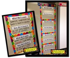 Find new and innovative teaching ideas, read about organizing your classroom, and other useful teaching tidbits! Learning Objectives Display, Classroom Objectives, Objectives Board, Displaying Objectives, Classroom Organization, Classroom Management, Class Displays, School Displays, Vocabulary Bulletin Boards