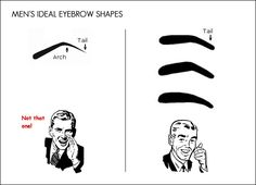 This is how your eyebrows should look! On the right not the left! You're a man! [editor's note: ignore this advice! none of the recommended shapes is very manly. Guys Eyebrows, Thick Eyebrows, Eyebrow Grooming, Male Grooming, My Beauty, Hair Beauty, Beauty Hacks, Men's Eyebrow Shapes, Eyebrow Styles