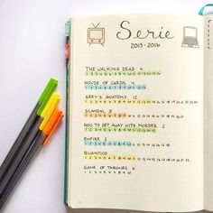 TV series tracker bullet journal