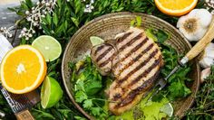 Pork Porterhouse Steak with Citrus Mojo Sauce