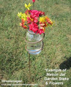 Mason Jar Garden Stakes 2 Holders with Mason Jar Solar Lights