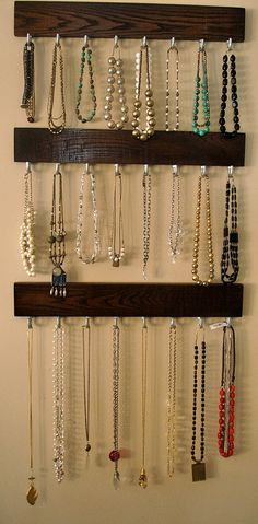 "Hanging Modern Jewelry Organizer / Coat Rack - 24"" Solid Oak With Steel Hooks…"