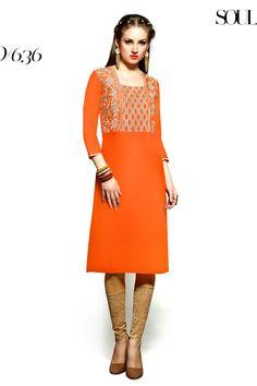 Designer party wear reyon orange kurti with embroidery work 636