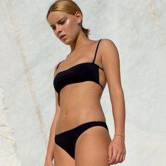 Swimwear: bikini black bikini black minimalist summer bronzage