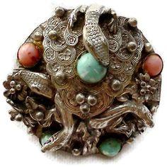 Silver Snake Lizard  Brooch Art Nouveau by WeeLambieVintage, $100.00