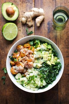 Spicy Shrimp & Avocado Salad with Miso Dressing.minus the lime, and most likely the miso dressing too Healthy Salads, Healthy Eating, Healthy Recipes, Keto Recipes, Dinner Recipes, Chickpea Recipes, Healthy Food, Cheap Recipes, Carrot Recipes