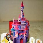 Belle´s Castle. Free Printable playset.  Also available are: Cinderella's castle, Jasmine's Castle, Sleeping Beauty's castle, Ariel's Castle, and Mulan's World