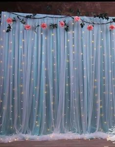 Tulle Backdrop, Tulle Curtains, Flower Backdrop, White Curtains, Backdrop Wedding, Icicle Lights, Twinkle Lights, Fairy Lights, String Lights