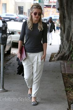 Seen on Celebrity Style Guide: 'Safe Haven' actress Julianne Hough does some shopping with friends in these cream pleat pants on January 21 Get Them Here: http://rstyle.me/n/ewnegmxbn
