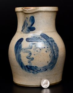 """Extremely Rare Cowden & Wilcox / Harrisburg PA 1/2 Gal. Stoneware Pitcher with """"Man-in-the-Moon"""" Decoration"""