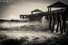 The waves created by Hurricane Sandy crash over the Juno Beach Pier in Florida. Juno Beach Pier, Jupiter Fl, Hurricane Sandy, Beach Themes, Cool Photos, Florida, Explore, Black And White, World