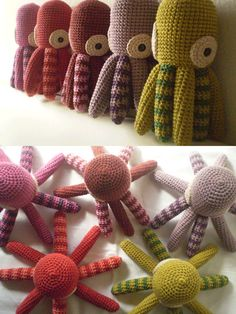 kid's crochet toy - amigurumi octopus, pattern available in Spanish...easy to figure out and a cute, quick gift for shower