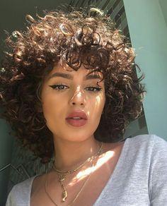 Val Mercado Cute Short Curly Hairstyles, Curly Hair Styles, Curly Hair With Bangs, Haircuts For Curly Hair, Hairstyles With Bangs, Natural Hair Styles, Curly Short, Hairstyles 2018, Short Haircuts