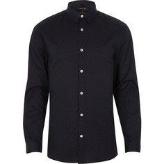 River Island Navy dot muscle fit smart shirt ($34) ❤ liked on Polyvore featuring men's fashion, men's clothing, men's shirts, men's casual shirts, shirts, mens longsleeve shirts, mens button front shirts, mens navy blue shirt, mens navy blue polka dot shirt and old navy mens shirts
