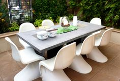 Panton chair for outdoor seating.