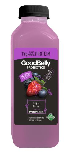 [[MORE]]I tried the GoodBelly Protein Shake in Triple Berry, which I found at Whole Foods. The labeling is misleading; be sure to read the Nutritional Information first. One bottle is TWO SERVINGS, so...