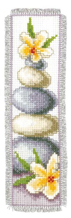 Zen Stones Mindfulness Bookmark, counted cross-stitch