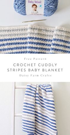 Free Crochet Blanket Pattern - Cuddly Stripes Baby Blanket Hi there, it's Hannah, I had so much fun making this Cuddly Stripes Baby Blanket because I am still so… Crochet Afghans, Striped Crochet Blanket, Crochet Blanket Patterns, Crochet Stitches, Knitting Patterns, Crochet Baby Blanket Beginner, Crochet Blankets, Dress Patterns, Crochet Daisy