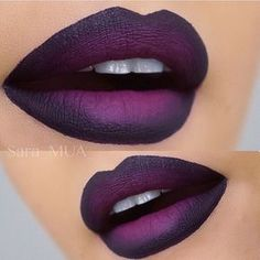 Love the dark purple ombré lips lips @sara_mua_