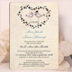 Drewniane zaproszenie ślubne z motywem Ptaszków w sercu