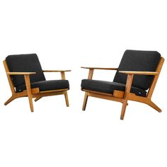 Lounge Easy Chairs by Hans J. Wegner for GETAMA GE 290 | From a unique collection of antique and modern lounge chairs at https://www.1stdibs.com/furniture/seating/lounge-chairs/