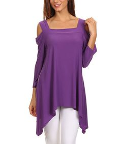 Look at this #zulilyfind! Purple Cutout Sidetail Tunic #zulilyfinds. ** different colors w this would all b nice.