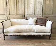 Beautiful walnut carved french daybed sofa coming soon.... #antiques #french #sofa #belgianlinen