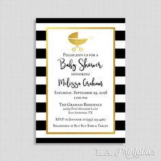 Baby Shower Invitation, Black & Gold Stripe Baby Shower Invite, Baby Buggy Gender Neutral Invite, DIY PRINTABLE