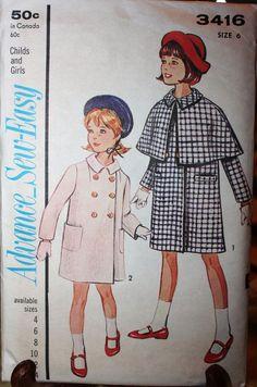 1964 vintage girl's coat/cape sewing pattern by BarnDoorVintage, $10.00