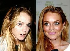 Lindsay Logan with and without makeup -
