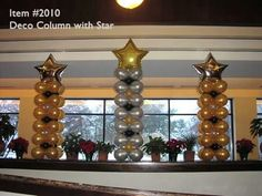 Balloon Columns - - Deco Column With Star - Up With Balloons. By Balloons From All Occasions Birthday Balloon Decorations, Graduation Decorations, Birthday Balloons, Balloon Wreath, Balloon Tree, Small Balloons, Balloons And More, Balloon Arrangements, Balloon Centerpieces