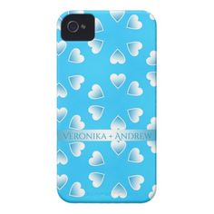 Pretty small blue hearts. Add your own text. iPhone 4 Case-Mate Case #customized, #personalized, graphics, artwork, buy, sale, #giftideas, #zazzle, shop, discount, #deals, gifts, shopping #valentinesday #love #blue #hearts #name #colorful #cute #case #iphonecase #iphone4case