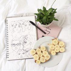 Imagen de pastel, banana, and art