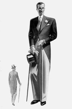 Morning Dress (before 1940s Mens Fashion, Mens Fashion Blazer, Fashion Vintage, Fashion Fashion, Men's Vintage, Vintage Dress, Vintage Style, Dress Code Guide, Dress Codes
