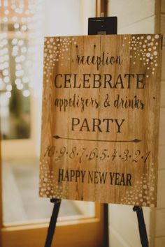 Cedarbrook Lodge Wedding in Seattle, WA | New Year's Eve Wedding Reception Sign | Perfectly Posh Events | Carly Bish Photography
